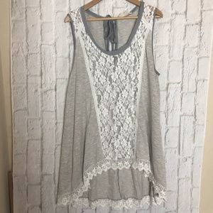 A'reve Gray and White Lace Eyelash Hi Lo Top